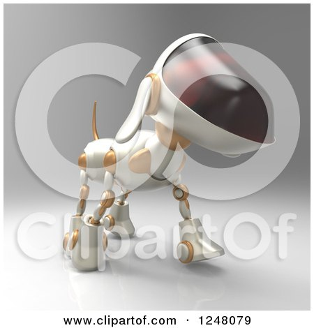 Clipart of a 3d Robot Dog Walking 8 - Royalty Free Illustration by Julos