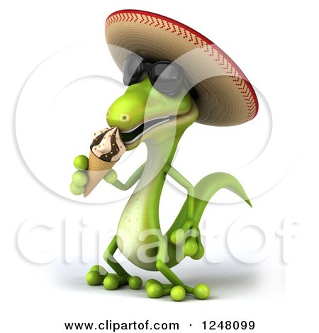 Clipart of a 3d Mexican Gecko in Sunglasses, Eating an Ice Cream Cone 2 - Royalty Free Illustration by Julos