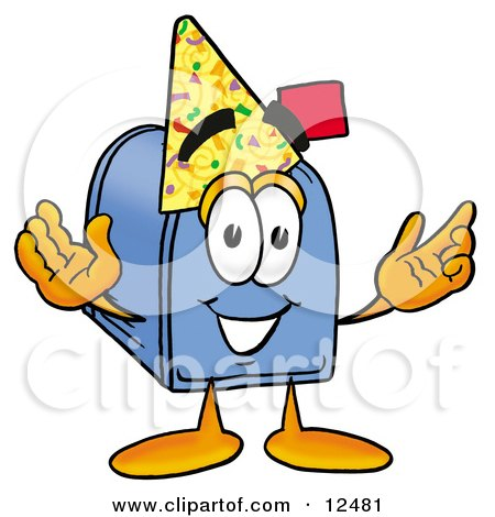 Blue Postal Mailbox Cartoon Character Wearing a Birthday Party Hat Posters, Art Prints