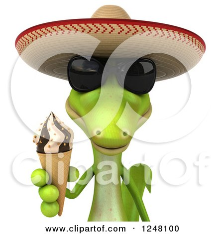 Clipart of a 3d Mexican Gecko in Sunglasses, Holding an Ice Cream Cone - Royalty Free Illustration by Julos