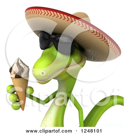 Clipart of a 3d Mexican Gecko in Sunglasses, Holding an Ice Cream Cone 2 - Royalty Free Illustration by Julos