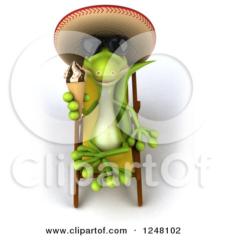 Clipart of a 3d Mexican Gecko in Sunglasses, Holding an Ice Cream Cone on a Lounge Chair - Royalty Free Illustration by Julos
