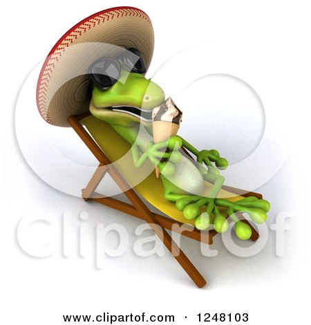 Clipart of a 3d Mexican Gecko in Sunglasses, Eating an Ice Cream Cone on a Lounge Chair - Royalty Free Illustration by Julos