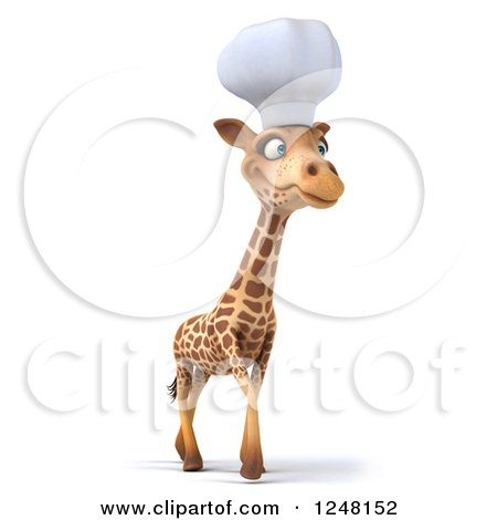 Clipart of a 3d Chef Giraffe Walking 2 - Royalty Free Illustration by Julos