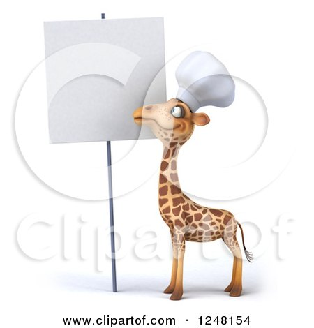 Clipart of a 3d Chef Giraffe by a Blank Sign - Royalty Free Illustration by Julos