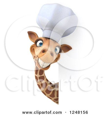 Clipart of a 3d Chef Giraffe Smiling Around a Sign - Royalty Free Illustration by Julos