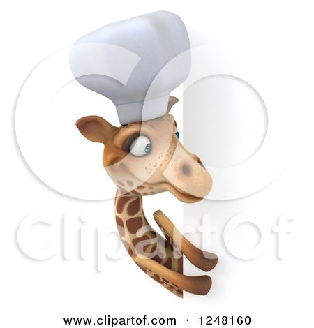 Clipart of a 3d Chef Giraffe Looking Around a Sign 2 - Royalty Free Illustration by Julos