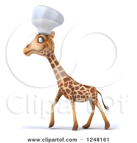 Clipart of a 3d Chef Giraffe Walking - Royalty Free Illustration by Julos