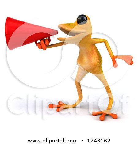 Clipart of a 3d Yellow Frog Announcing with a Megaphone 2 - Royalty Free Illustration by Julos