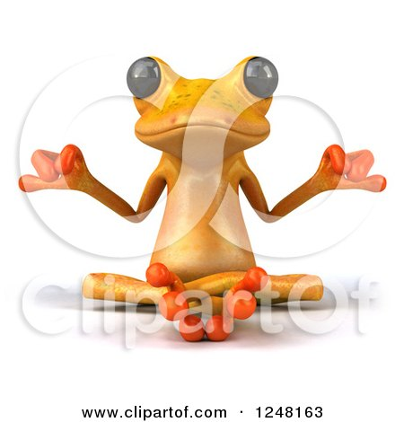 Clipart of a 3d Yellow Frog Meditating - Royalty Free Illustration by Julos