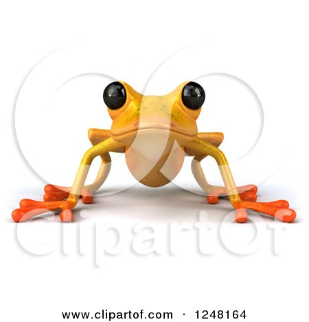 Clipart of a 3d Yellow Frog - Royalty Free Illustration by Julos