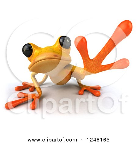 Clipart of a 3d Yellow Frog Crouching and Reaching - Royalty Free Illustration by Julos