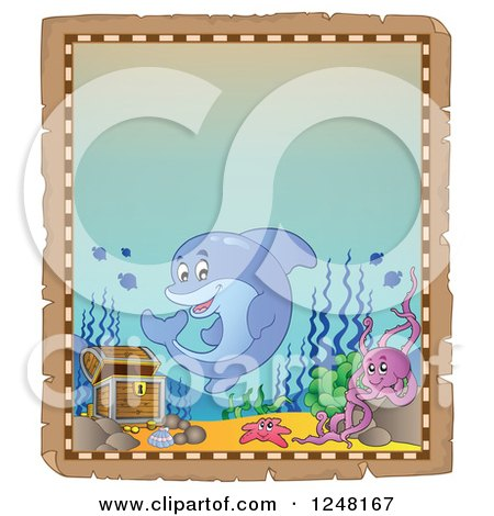 Clipart of an Aged Parchment Page with a Dolphin Octopus and Starfish by Sunken Treasure - Royalty Free Vector Illustration by visekart