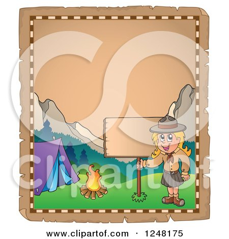 Clipart of an Aged Parchment Page with a Camping Scout Girl and a Sign - Royalty Free Vector Illustration by visekart