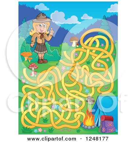 Clipart of a Camping Scout Girl Maze - Royalty Free Vector Illustration by visekart