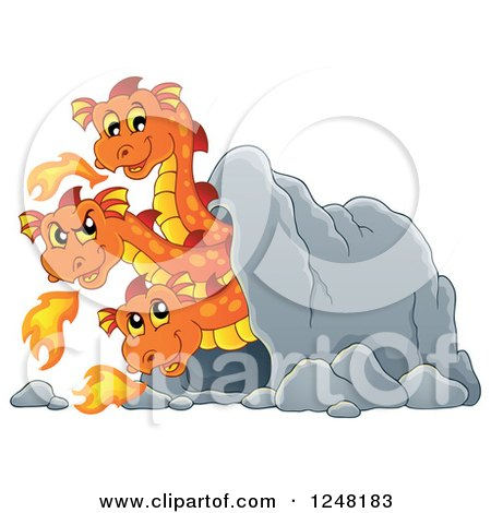 Clipart of a Three Headed Orange Fire Breathing Dragon in a Cave - Royalty Free Vector Illustration by visekart