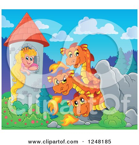 Clipart of a Three Headed Orange Fire Breathing Dragon in a Cave near a Princess in a Tower - Royalty Free Vector Illustration by visekart