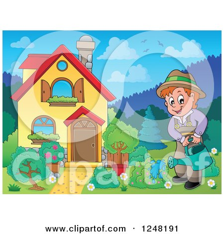 Clipart of a House with a Man Watering a Garden in the Front Yard - Royalty Free Vector Illustration by visekart