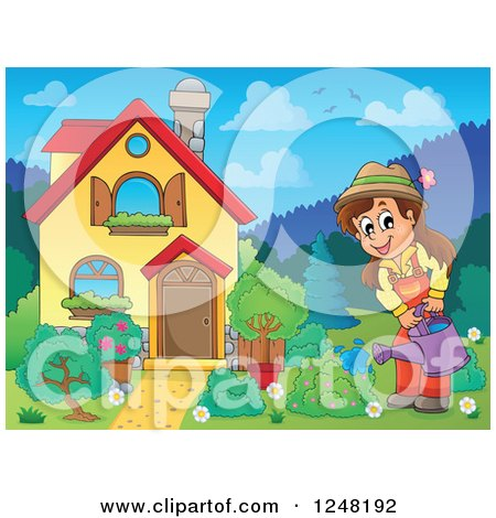 Clipart of a House with a Woman Watering a Garden in the Front Yard - Royalty Free Vector Illustration by visekart