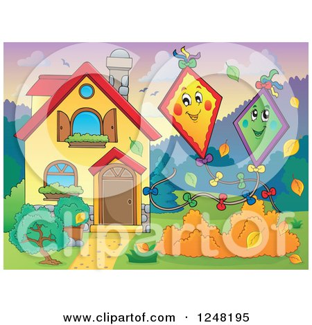 Clipart of a House with Kites and Autumn Leaves in the Front Yard - Royalty Free Vector Illustration by visekart