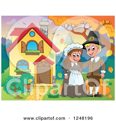 Clipart of a Young Pilgrim Thanksgiving Couple in the Front Yard of a Home - Royalty Free Vector Illustration by visekart