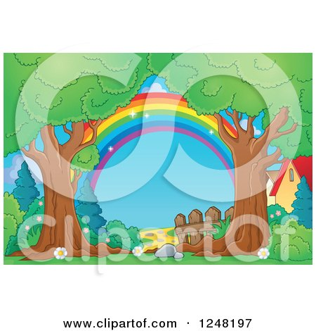Clipart of a Rainbow Fence and Path Through Mature Trees - Royalty Free Vector Illustration by visekart
