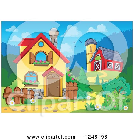 Clipart of the Front Yard of a Home with a Barn - Royalty Free Vector Illustration by visekart