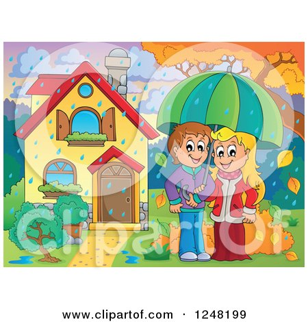 Clipart of a Young Couple with an Umbrella in the Rain in the Front Yard of a Home - Royalty Free Vector Illustration by visekart