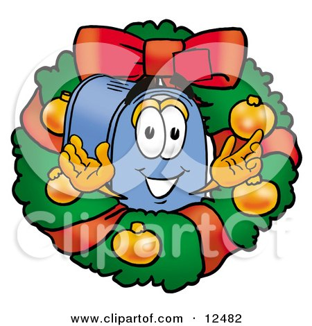 Blue Postal Mailbox Cartoon Character in the Center of a Christmas Wreath Posters, Art Prints