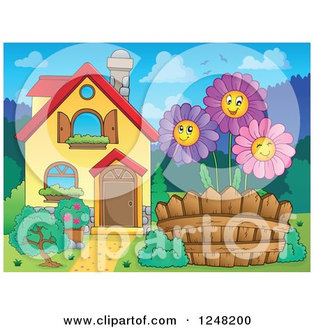 Clipart of a House with Happy Daisies in the Front Yard - Royalty Free Vector Illustration by visekart
