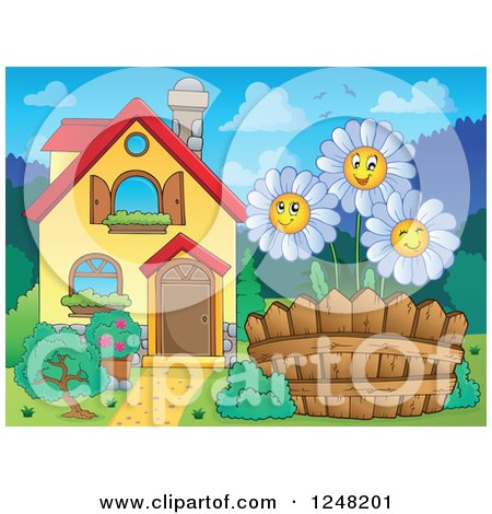 Clipart of a House with Happy White Daisies in the Front Yard - Royalty Free Vector Illustration by visekart