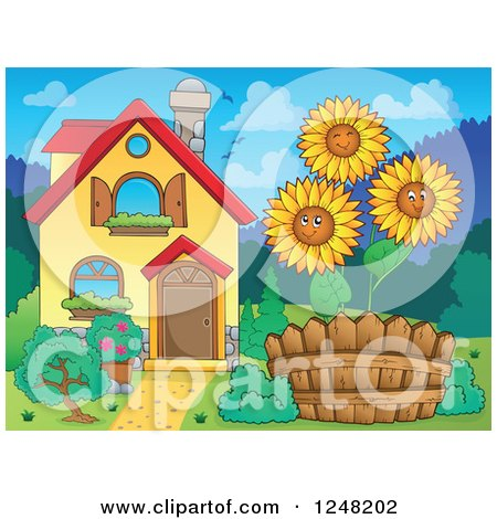 Clipart of a House with Happy Sunflowers in the Front Yard - Royalty Free Vector Illustration by visekart