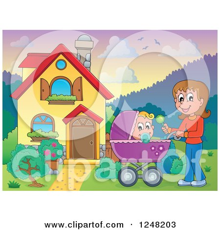 Clipart of a House with a Mother and Baby Pram in the Front Yard - Royalty Free Vector Illustration by visekart