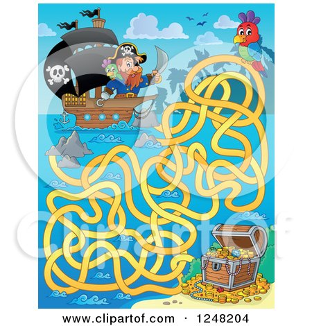 Clipart of a Pirate Ship and Treasure Chest Maze - Royalty Free Vector Illustration by visekart