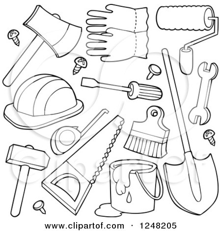 Clipart Of Black And White Hand Tools Royalty Free