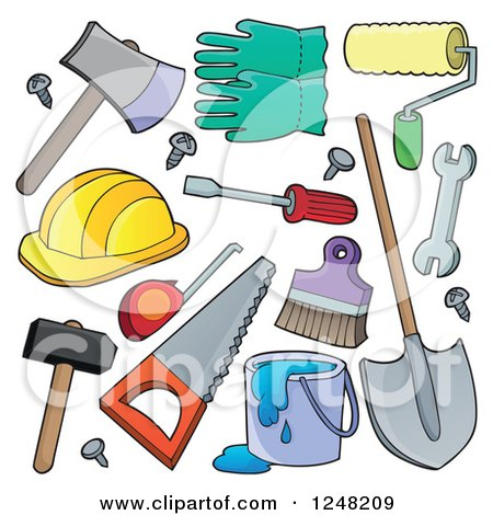 Clipart of Hand Tools - Royalty Free Vector Illustration by visekart