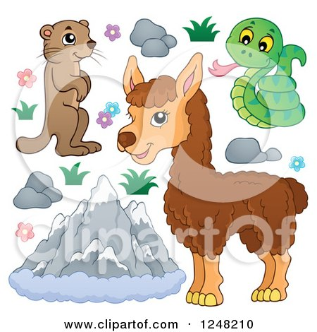 Clipart of Cute Mountain Animals with Mountains - Royalty Free Vector Illustration by visekart