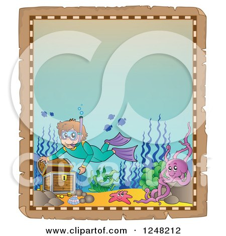 Clipart of an Aged Parchment Page with a Boy Snorkeling to a Sunken Treasure Chest - Royalty Free Vector Illustration by visekart
