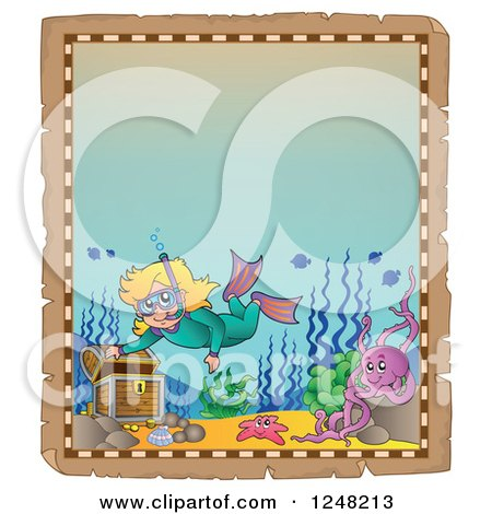 Clipart of an Aged Parchment Page with a Girl Snorkeling to a Sunken Treasure Chest - Royalty Free Vector Illustration by visekart