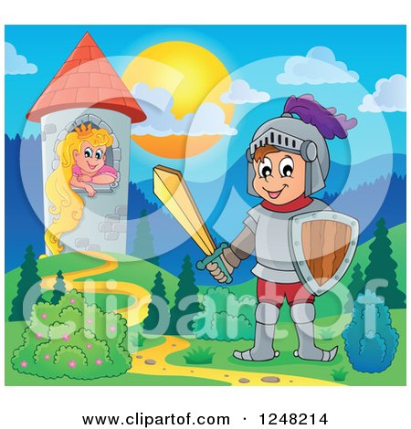 Clipart of a Happy Knight near a Princess in a Tower - Royalty Free Vector Illustration by visekart