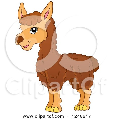 Clipart of a Cute Llama - Royalty Free Vector Illustration by visekart