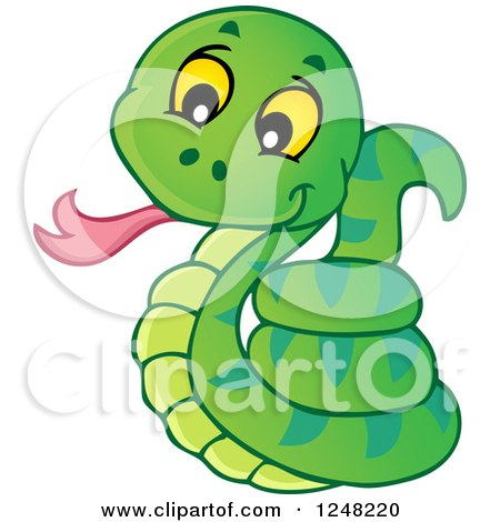Clipart Of A Cute Green Snake Royalty Free Vector Illustration