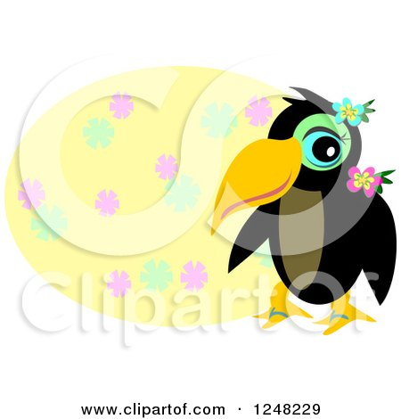 Clipart of a Tropical Toucan Bird over a Yellow Floral Oval - Royalty Free Vector Illustration by bpearth