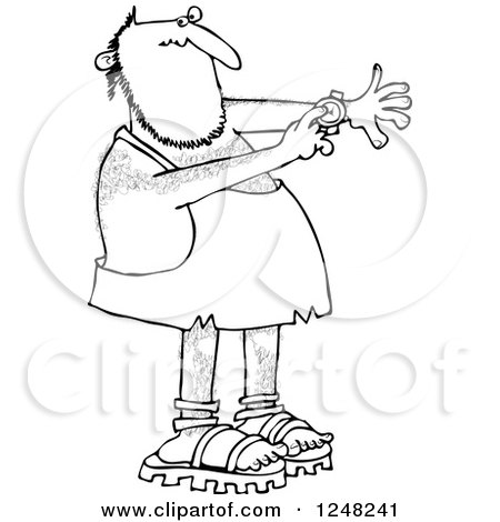 Clipart of a Black and White Caveman Pointing to a Watch on His Wrist - Royalty Free Vector Illustration by djart
