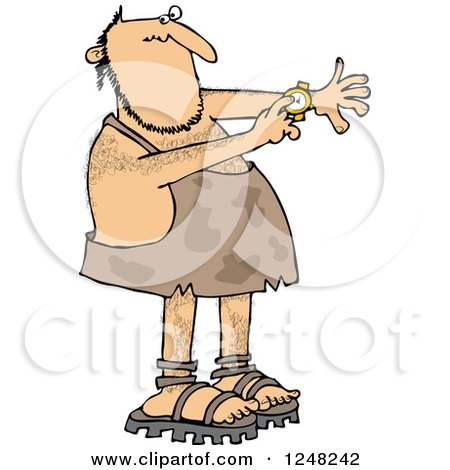 Clipart of a Caveman Pointing to a Watch on His Wrist - Royalty Free Vector Illustration by djart
