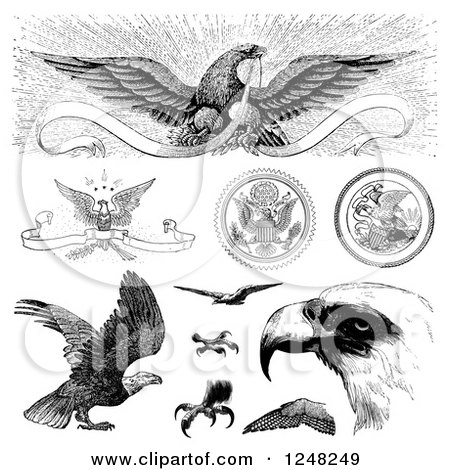 Clipart of Black and White Vintage American Bald Eagles - Royalty Free Vector Illustration by BestVector