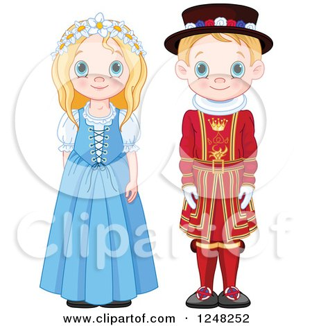 Clipart of Cute Blond British Children in Traditional Dress - Royalty Free Vector Illustration by Pushkin