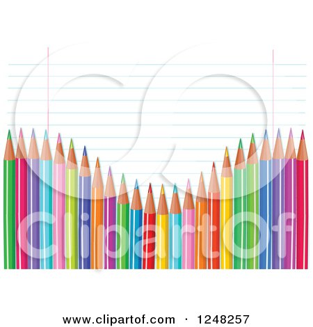 Clipart of a Wave of Colored Pencils over Ruled School Paper - Royalty Free Vector Illustration by Pushkin