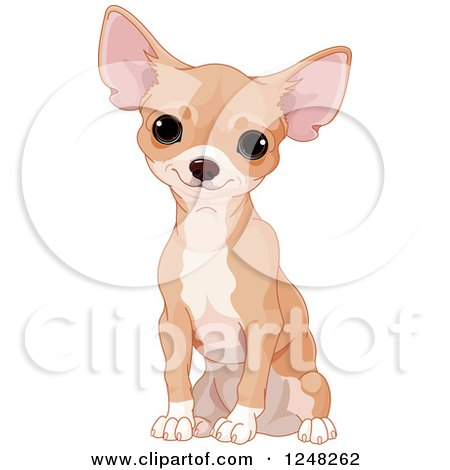 Clipart of a Cute Tan Chihuahua Dog Sitting - Royalty Free Vector Illustration by Pushkin