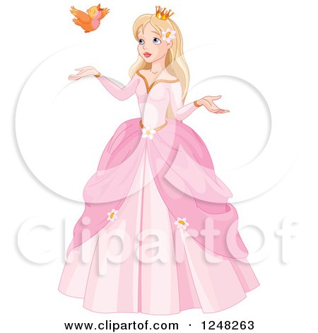Clipart of a Blond Princess with a Summer Bird - Royalty Free Vector Illustration by Pushkin